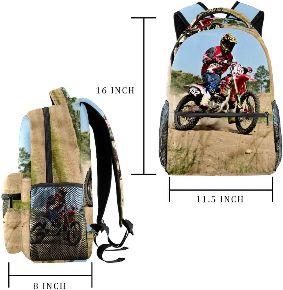 School Backpack Motorcycle Motocross Motorbike Backpack for Kids Boys Girls,Casual 29.4x20x40cm
