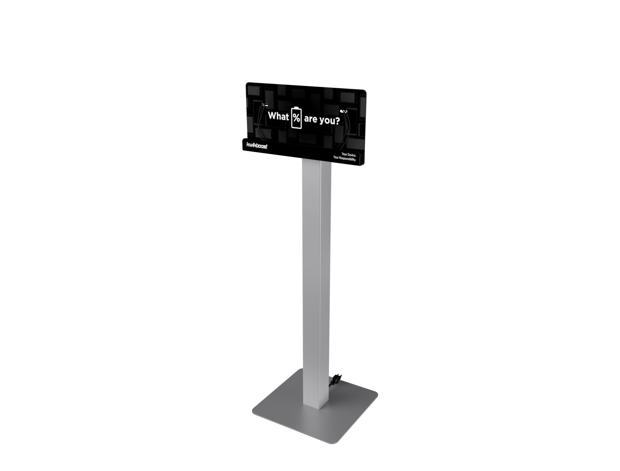 Floor Stand Cell Phone Charging Station Kiosk Tower Dock by KwikBoost | Multiple Device High Speed Cables For 8 Devices, Universal Compatibility, Charge Wireless Phones, Tablets, E-readers, M8 Basic