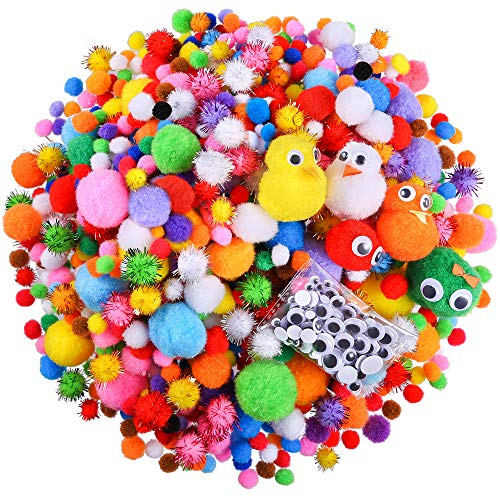 Caydo 1500 Pieces Fuzzy 5 Sizes Multicolor Assorted Pompoms, 3 Sizes Glitter Pompoms and 4 Sizes Wiggle Googly Eyes for DIY, Creative Crafts Decorations