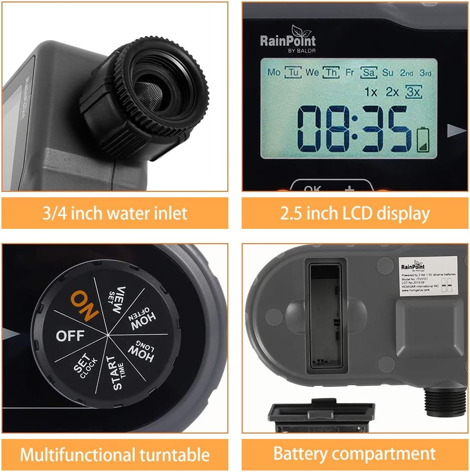 Jetcloud Water Timer,Electronic Irrigation Timer Water Controller with LCD Display,Automatic Watering Irrigation System Digital Tap Timer for Garden Plant Agriculture