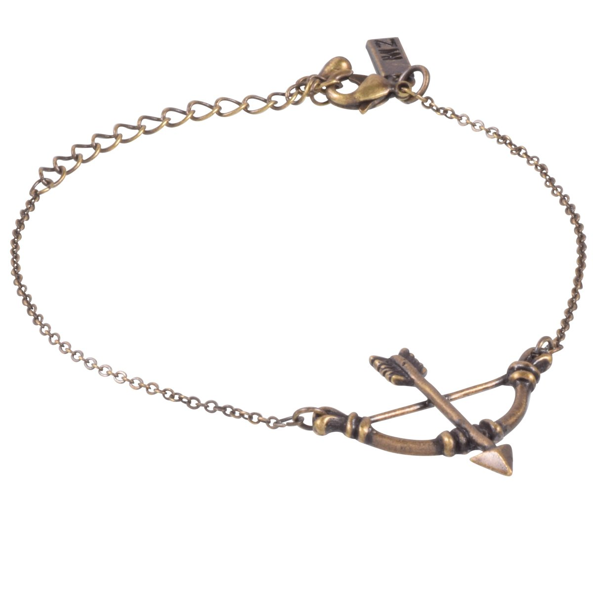 """Antique Gold Plated Bow and Arrow Bracelet by Zoetik, approx. 6"""" with 2"""" extension"""