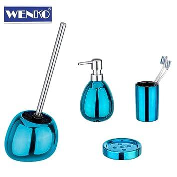 Wenko 4tlg De Salle De Bain Polaris Bleu pétrole set de bain WC