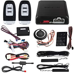 EASYGUARD EC002-NS PKE Passive Keyless Entry Car Alarm System Remote Start Starter Push Start Stop Button Touch Password Entry Shock Sensor Alarm