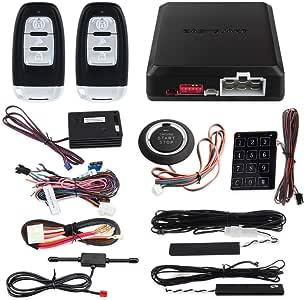 EASYGUARD EC002-NS PKE Passive Keyless Entry Car Alarm System Remote Start Starter Push Start Stop Button Touch Password Entry Shock Sensor Alarm