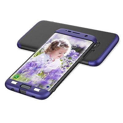 HopMore Fundas Samsung Galaxy S6 Edge 3 en 1 Duras Case 360 Mate Ultra Slim Antigolpes Design Resistentes PC Cover para Samsung Galaxy S6 Edge -- Azul + Negro