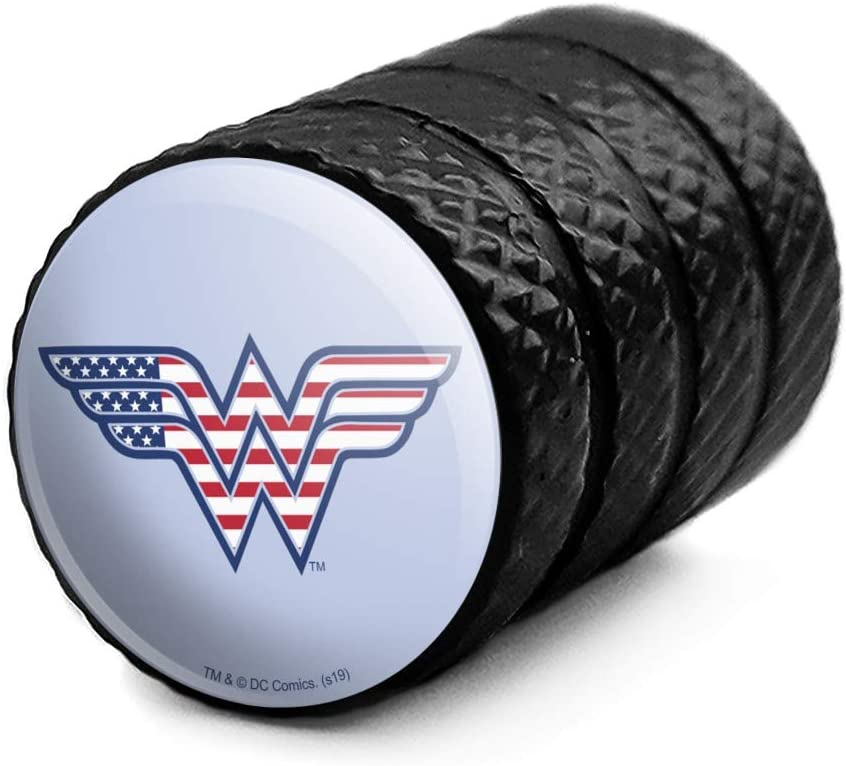 Graphics and More Wonder Woman USA American Flag Logo Tire Rim Wheel Aluminum Valve Stem Caps