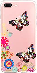 Girlscases® | iPhone 8 Plus / 7 Plus Hülle | Im Schmetterling Blumen Motiv Muster | in rosa bunt | Fashion Case Transparente Schutzhülle aus Silikon