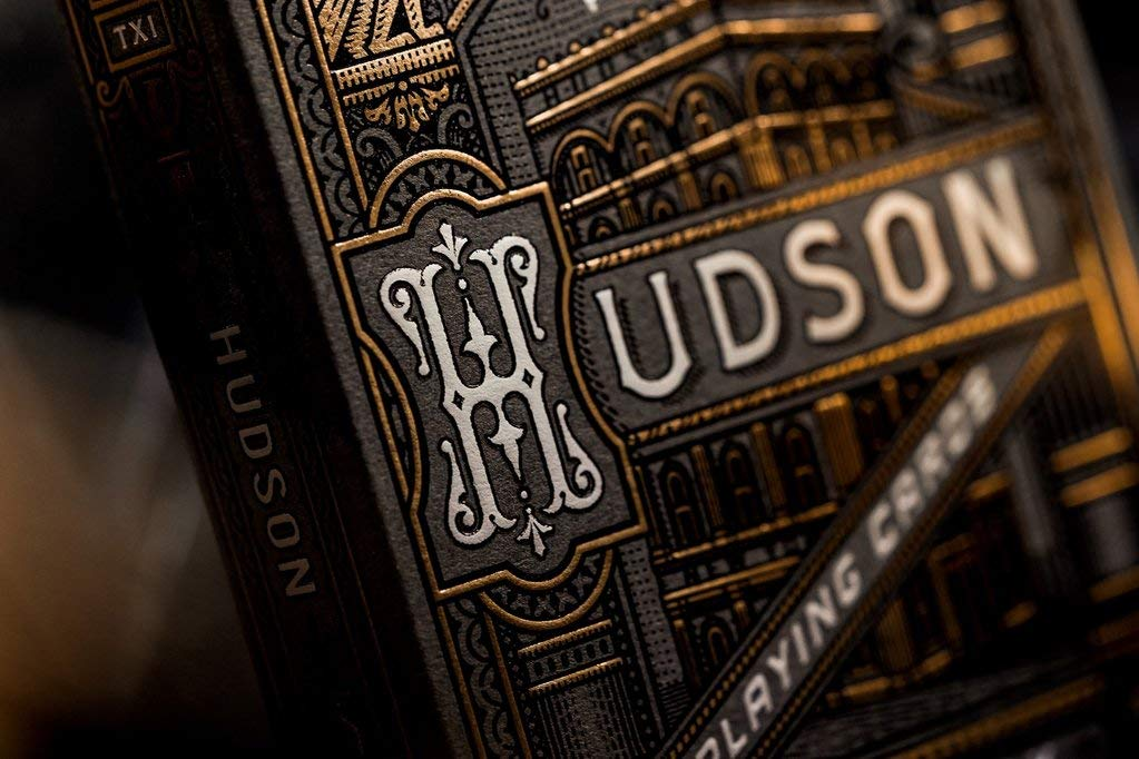 Theory Hudson Playing Cards - Black Gunmetal Edition - Poker Deck with Deep Black Foil Laced in Gold Theory11