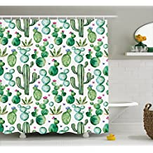 Green Decor Shower Curtain by Ambesonne, Mexican Texas Cactus Plants Spikes Cartoon Like Art Print, Fabric Bathroom Decor Set with Hooks, 84 Inches Extra Long, White Light Pink and Lime Green