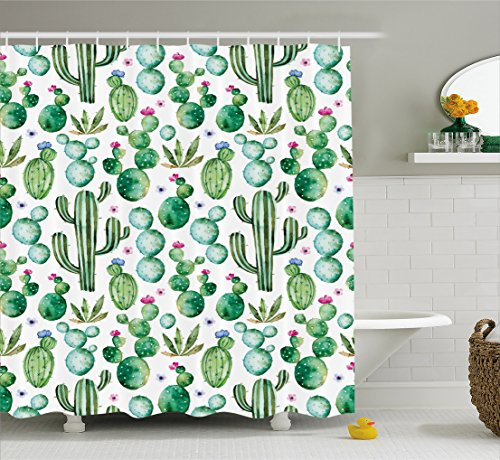 Ambesonne Green Decor Shower Curtain, Mexican Texas Cactus Plants Spikes Cartoon Like Art Print, Fabric Bathroom Decor Set with Hooks, 70 Inches, White Light Pink and Lime Green