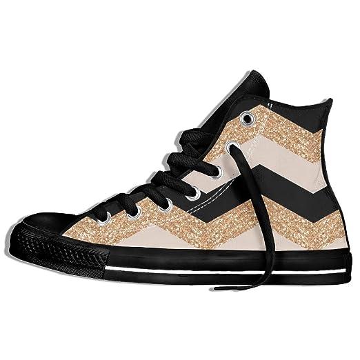 6ffaf9bee3d3d Amazon.com: Arrow Glittering Gold Black High Top Shoes Women'sSport ...