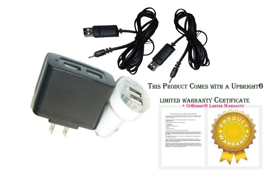 UpBright Car + Wall Charger + 2Pcs USB Cords For Seagate GoFlex Satellite 1AYBA1 1AYBP1-500 500 GB HDD Mobile Wireless Storage Hard Drive HD Power Supply Cord DC Charger PSU