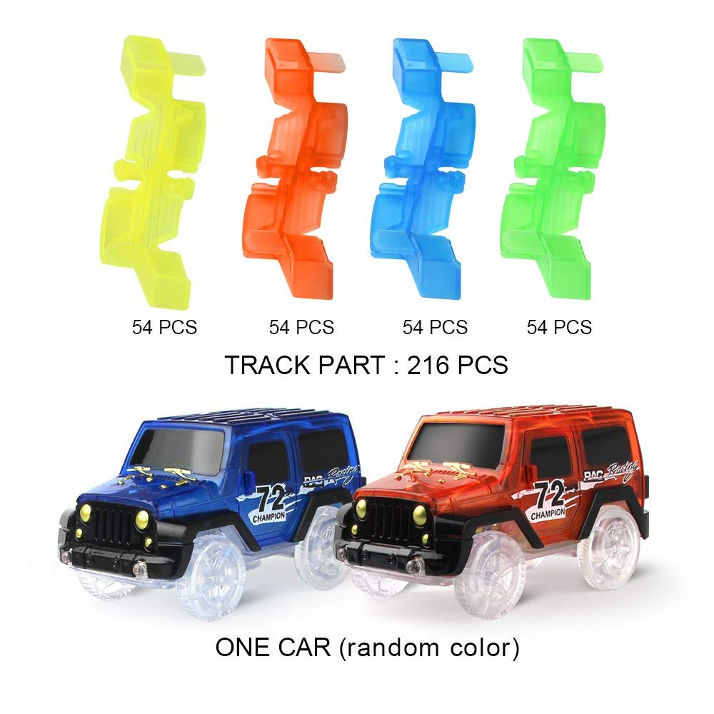 Generic Glow Racing Track Set Glow in The Dark Car Track Cool Toy Boys Gift Assembly Toy Car Track with Led Light Mini Rail Car 216pcs with 1 car