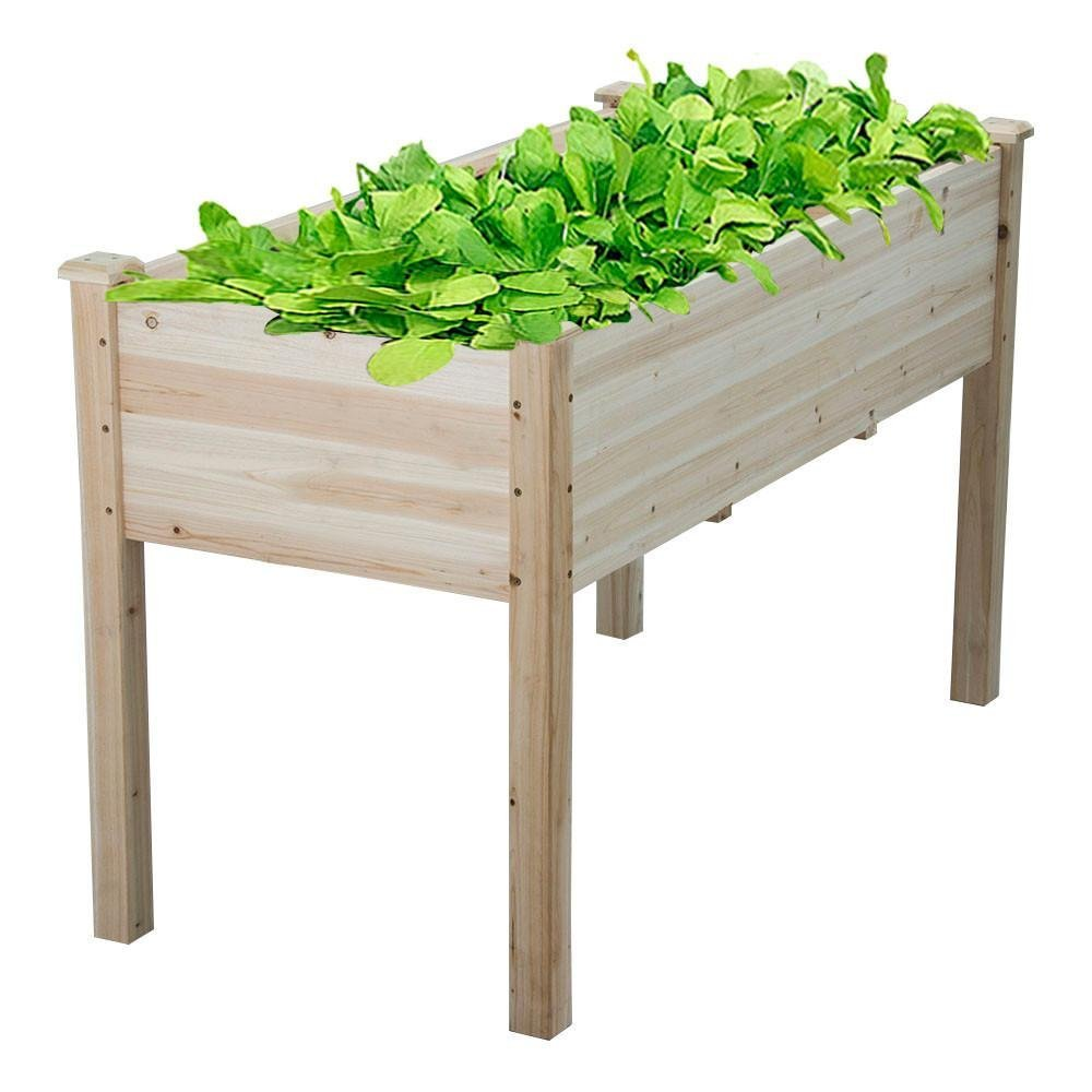 Yaheetech Wooden Raised Garden Bed Kit Elevated Planter Boxes Kit for Vegetable/Flower/ Fruits/Herb Containers Outdoor Gardening Natural Wood