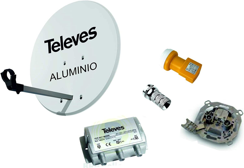 Kit Antena PARABOLICA 63cm Aluminio TELEVES + Mezclador DE SATELITE + Toma Final SEPARADORA DE SEÑALES
