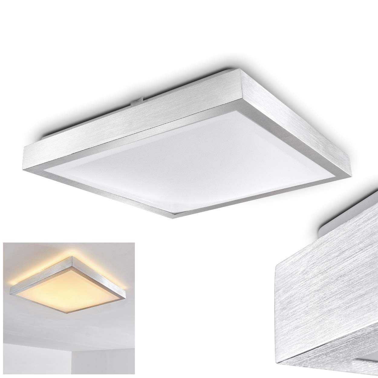 Square led ceiling lights eye catching design warm white light for bathroom kitchen corridor hallway dining room 3000 kelvin ip44 protection
