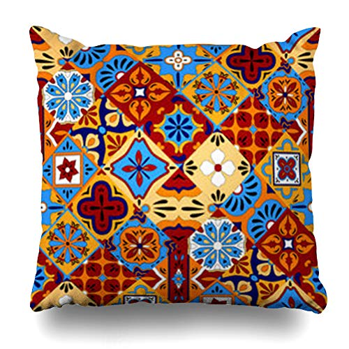 Ahawoso Throw Pillow Cover Style Floral Mexican Talavera Tiles in Blue Red Yellow Abstract Geo Green Pattern Black Tileabstract Home Decor Sofa Pillowcase Square Size 20 x 20 Inches Cushion Case