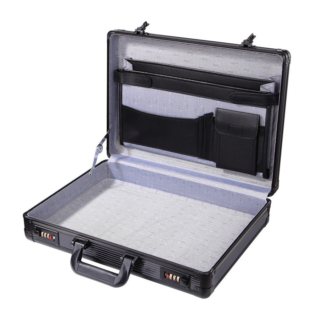 Aluminum Hard Case Black Mens Briefcase Flight Case Interior Organizer Pocket