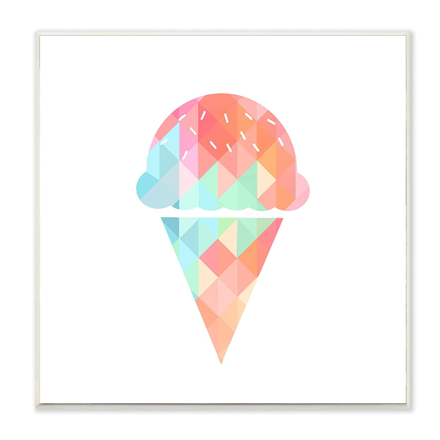 Stupell Home D/écor Graphic Rainbow Ice Cream Cone Framed Giclee Texturized Art Proudly Made in USA 12 x 1.5 x 12