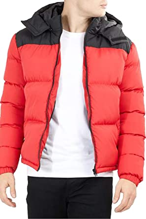 59ce3ae9dac1 Brave Soul Mens Bubble Jacket Coat Hoodie Quilted Padded Dale Winter ...