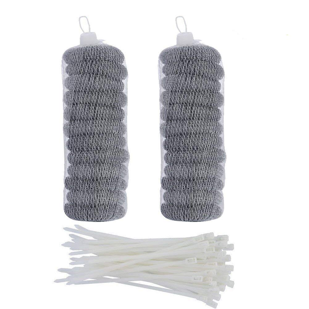 24 Pieces Stainless Steel Washing Machine Lint Traps Snare Laundry Mesh Washer Hose Filter with 24 Pieces Cable Ties