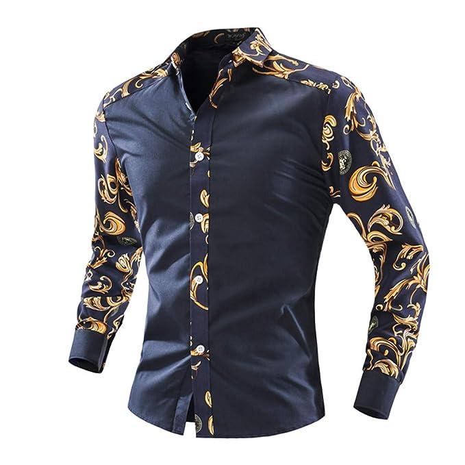 Hombre Impresa Camisas De Manga Larga Blusa De Cultivo De Moda Camisas: Amazon.es: Ropa y accesorios