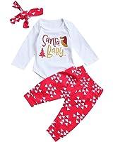 Miward Newborn Baby Girls Long Sleeve Romper Red Legging With Headband Holiday Bodysuit