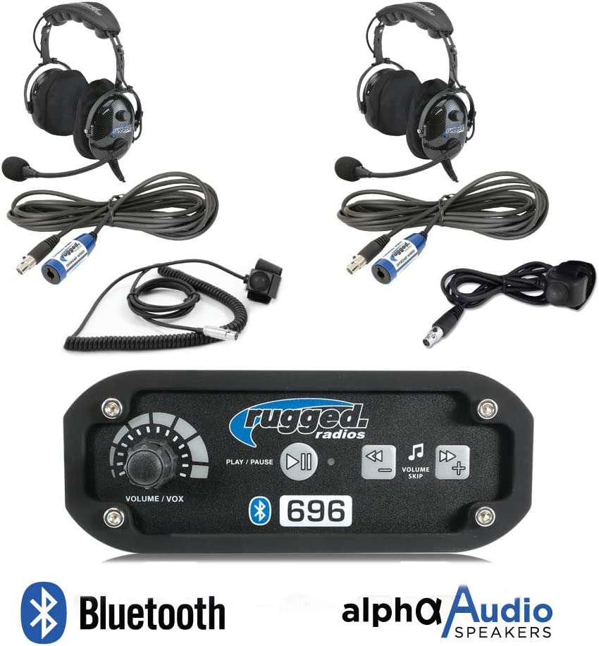 Rugged Radios RRP696 Black Out Series Intercom 2 Place Kit with Over The Head Headsets Push to Talk Cables and Intercom Cables