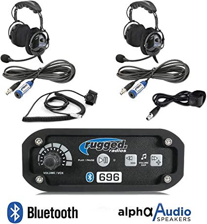 Rugged Radios RRP660 Intercom 2 Place Kit with Over The Head Headsets Push to Talk Cables and Intercom Cables