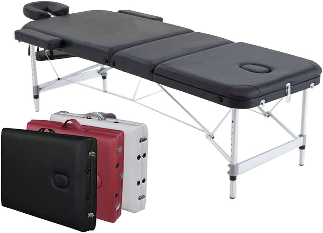 ANGEL USA 3-Section Aluminum 84 L Portable Massage Table Facial SPA Bed Tattoo w Free Carry Case BLACK