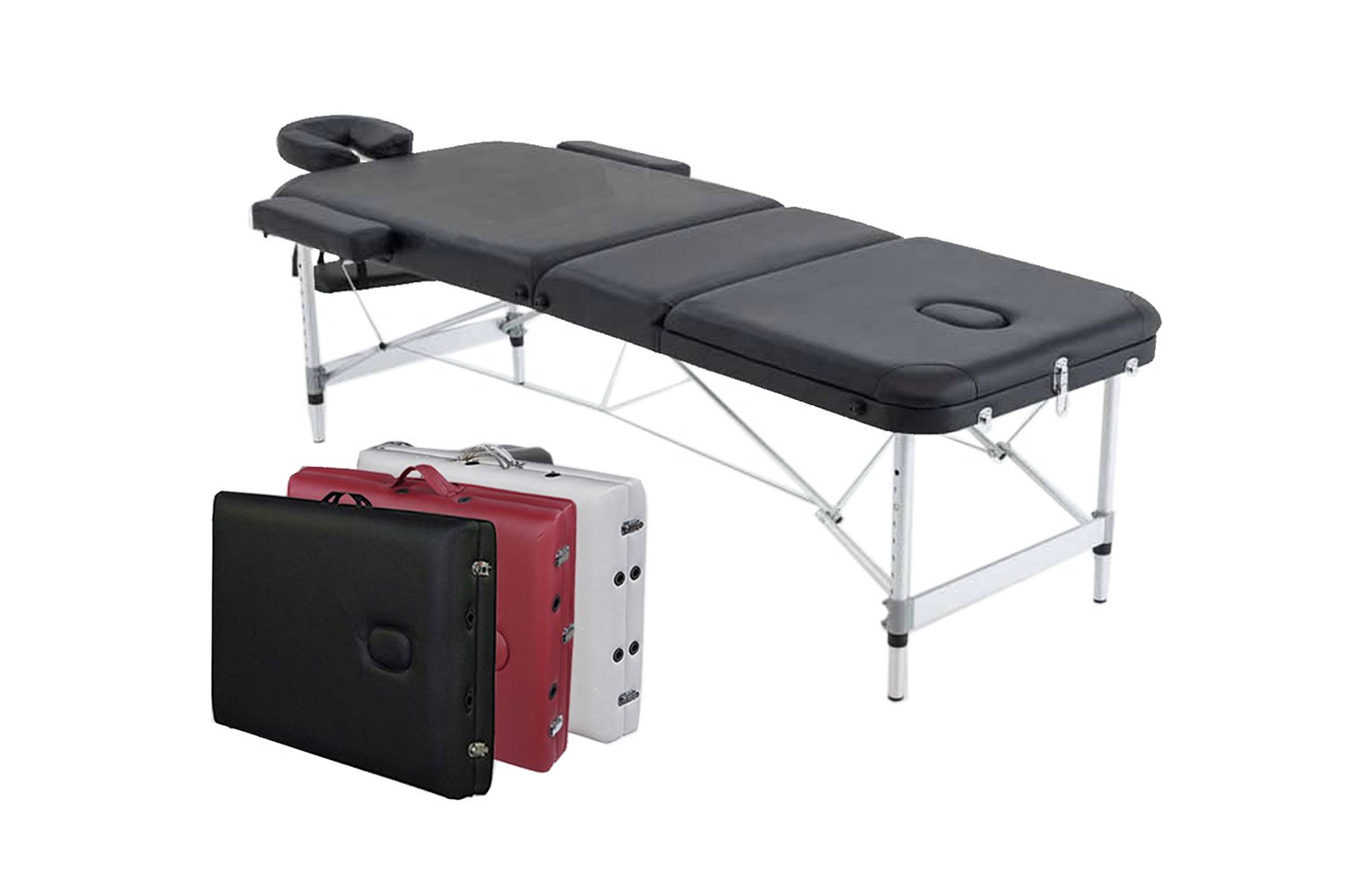 Angel 3-Section Aluminum 84L Portable Massage Table Facial SPA Bed Tattoo w/Free Carry Case (Black) Angel Canada