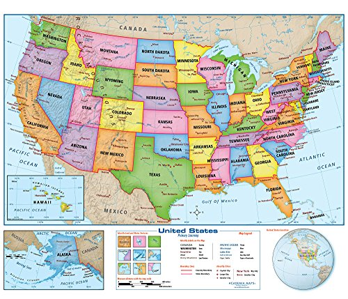Primary Wall Map - United States Wall Map Poster - Extra Large 60