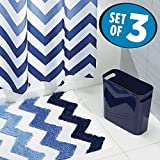 chevron trash can - mDesign Chevron Fabric Shower Curtain, Microfiber Bathroom Accent Rug, Wastebasket Trash Can - Set of 3, Blue Multi Color