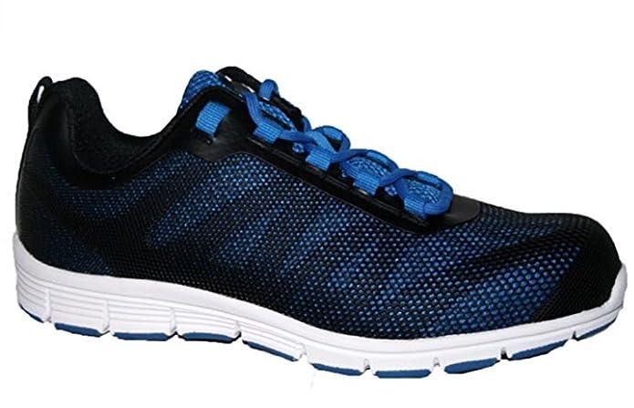 Zapatillas de seguridad para hombre GR86, de piel, con punta de acero y cordones, color Azul, talla 44