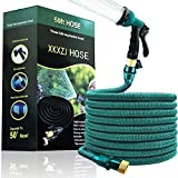 50FT Expandable Garden Hose- Upgraded Flexible & Retractable Water Hose with 8 Function Spray Nozzle ,Lightweight Expanding Hose with (Valve ) Anti-Bursting Double latex ,Anti-Leaking Brass Fittings, Extra Strong Fabric (blue)