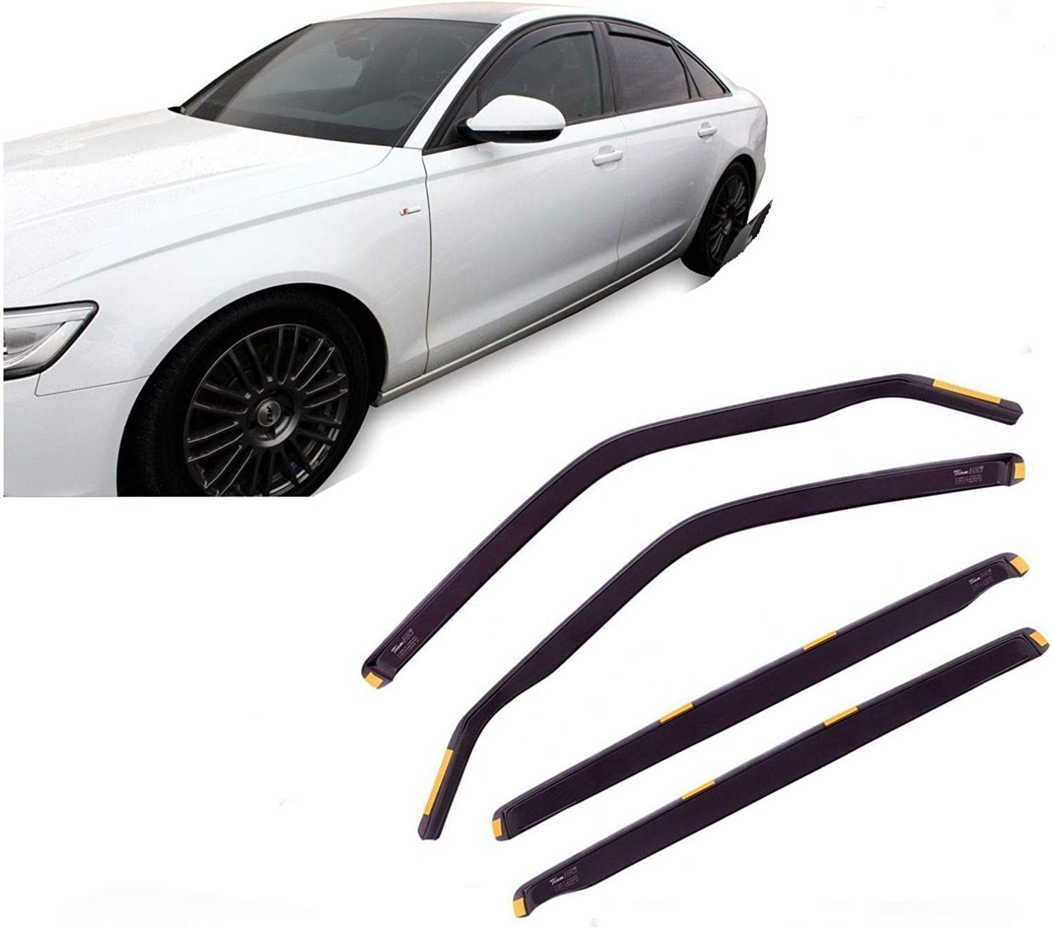 Saloon UKB4C Tinted Front Rear Window 4pc Wind Deflectors for A6 2011 on