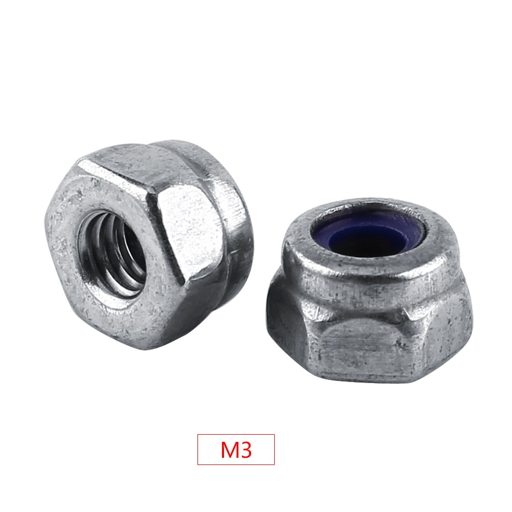 M2-M12 Stainless Steel SS304 Self-locking Hex Nut Anti-loose Locknut with the Nylon Washers(M3-100Pcs) Walfront