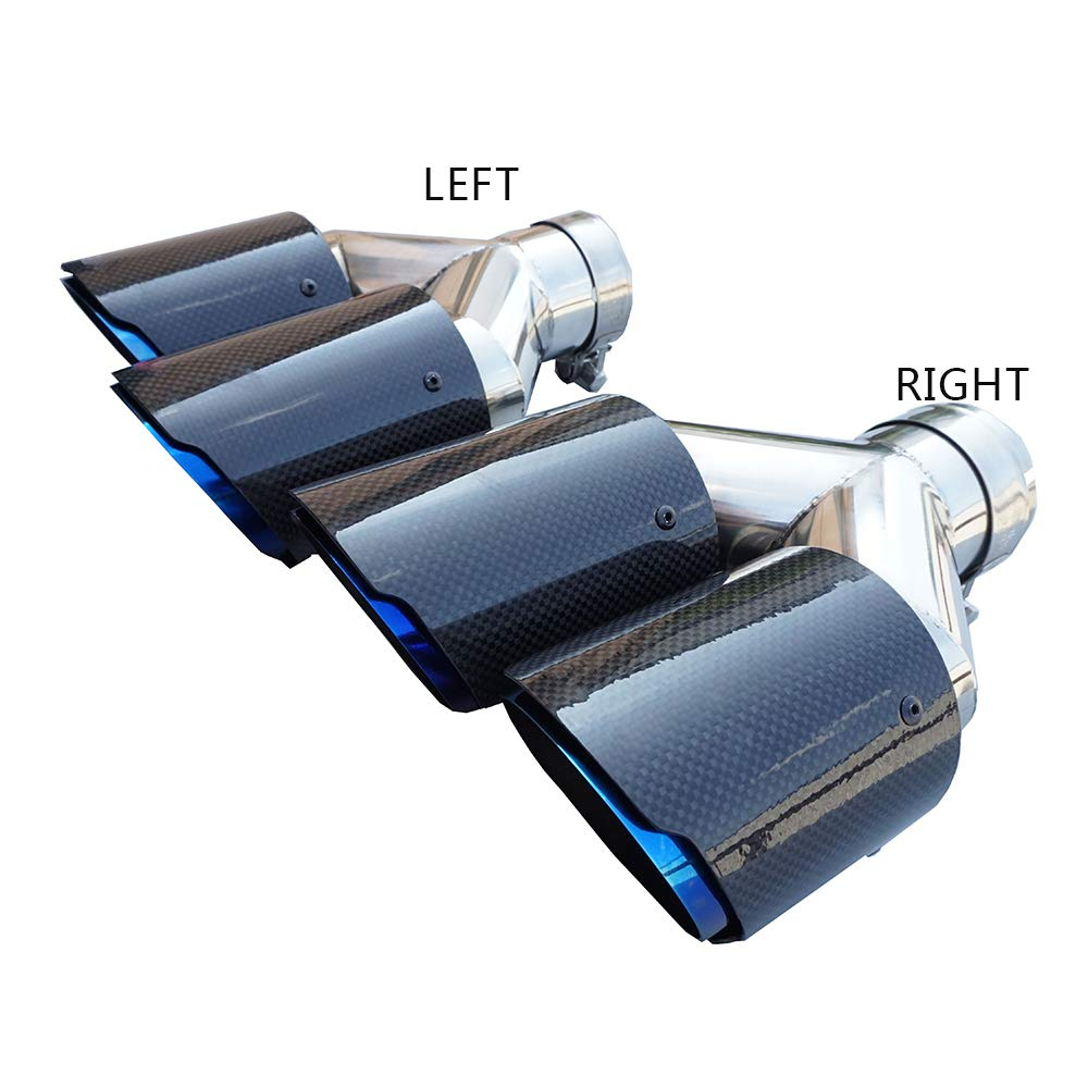Inlet 54//57//60//63//66mm Outlet 89mm Inlet 63mm Outlet 89mm, LEFT SIDE 3.5 Outlet y style L//R type Carbon Fiber Exhaust Pipe Muffler Tips-straight edge,blue stainless steel