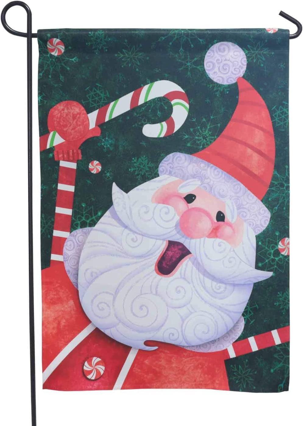 LAYOER 12 x 18 inch Garden Flag Santa Claus Candy Welcome Merry Christmas Home Decorative Double Sided (13 x 18 Inch)