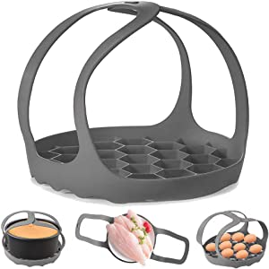 Pressure Cooker Sling,Silicone Bakeware Sling for 6 Qt/8 Qt Instant Pot, Ninja Foodi and Multi-function Cooker Anti-scalding Bakeware Lifter Steamer Rack,BPA-Free Silicone Egg Steamer Rack (Gray)