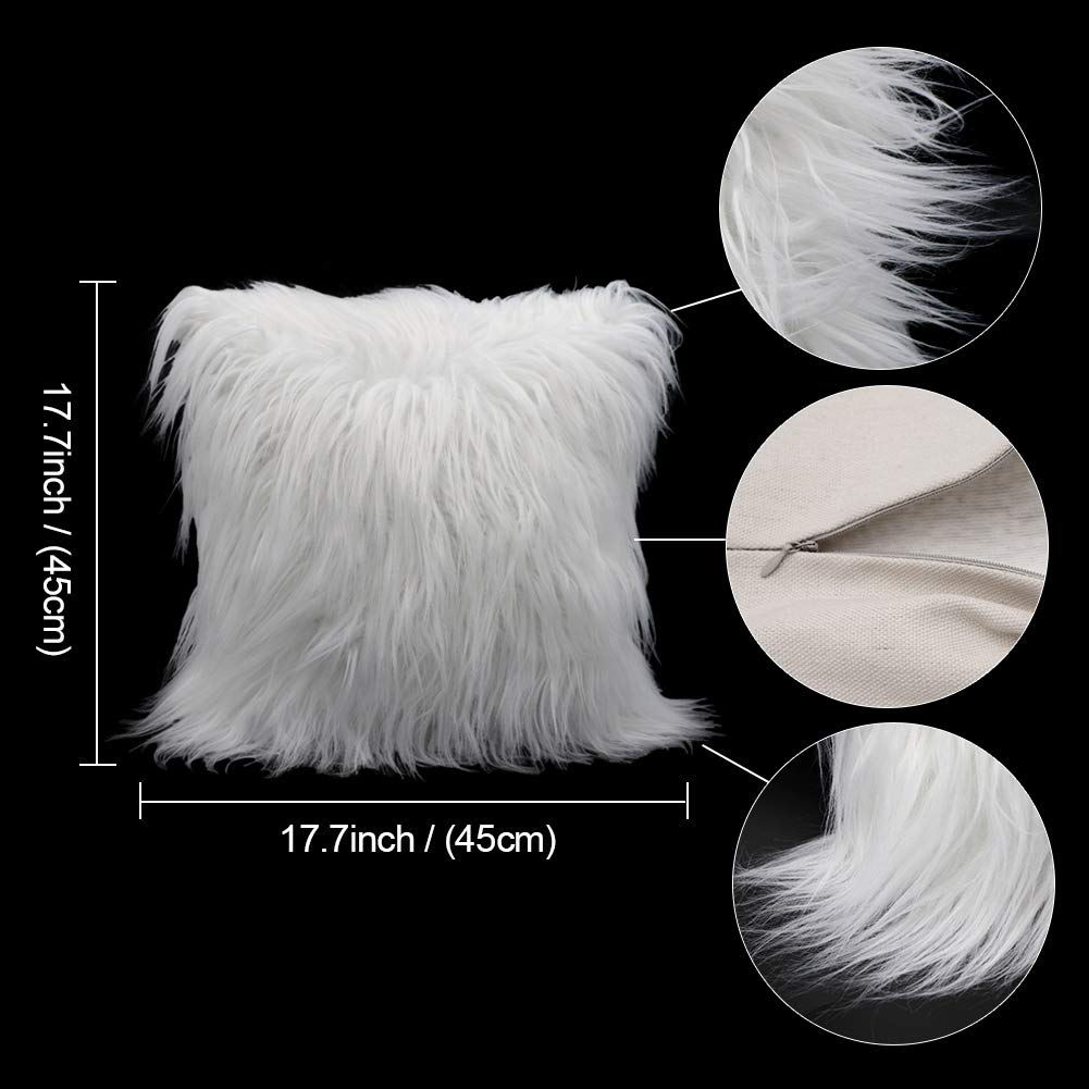 18inch x 18inch Cover Only Aytai 2pcs Luxury Faux Fur Pillow Covers Soft Plush Throw Pillow Case Cushion Cover for Christmas Decoration Xmas Gift Home Decorative