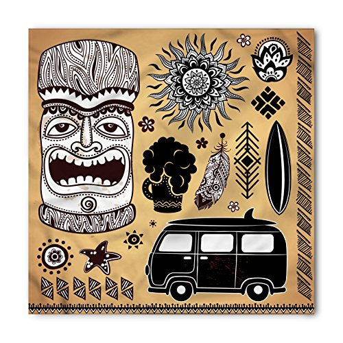 Vintage Hawaii Bandana by Lunarable, Retro Hawaii Tattoo Old School Van Surfing Board Starfish Soft, Printed Unisex Bandana Head and Neck Tie Scarf Headband, 22 X 22 Inches, Pale Brown Black White (Neck Vans Face)