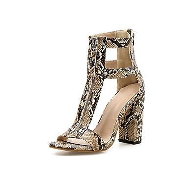 ad3cb70847f7 Size 42 Serpentine Heels Sandals Women Summer Gladiator Shoes Woman Zipper  Open Toe Pumps Khaki