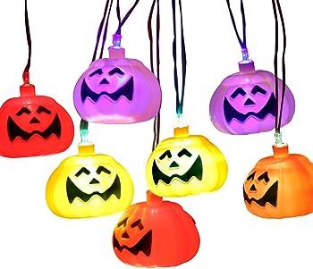 2-Packs Halloween 10 Foot Pumpkin Skull 32 LED Lantern Set