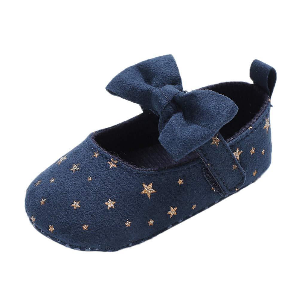 NUWFOR Infant Newborn Baby Girls Shoe Bow Printing Soft Crib Anti-Slip Princess Shoes(Navy,12-18 Months)