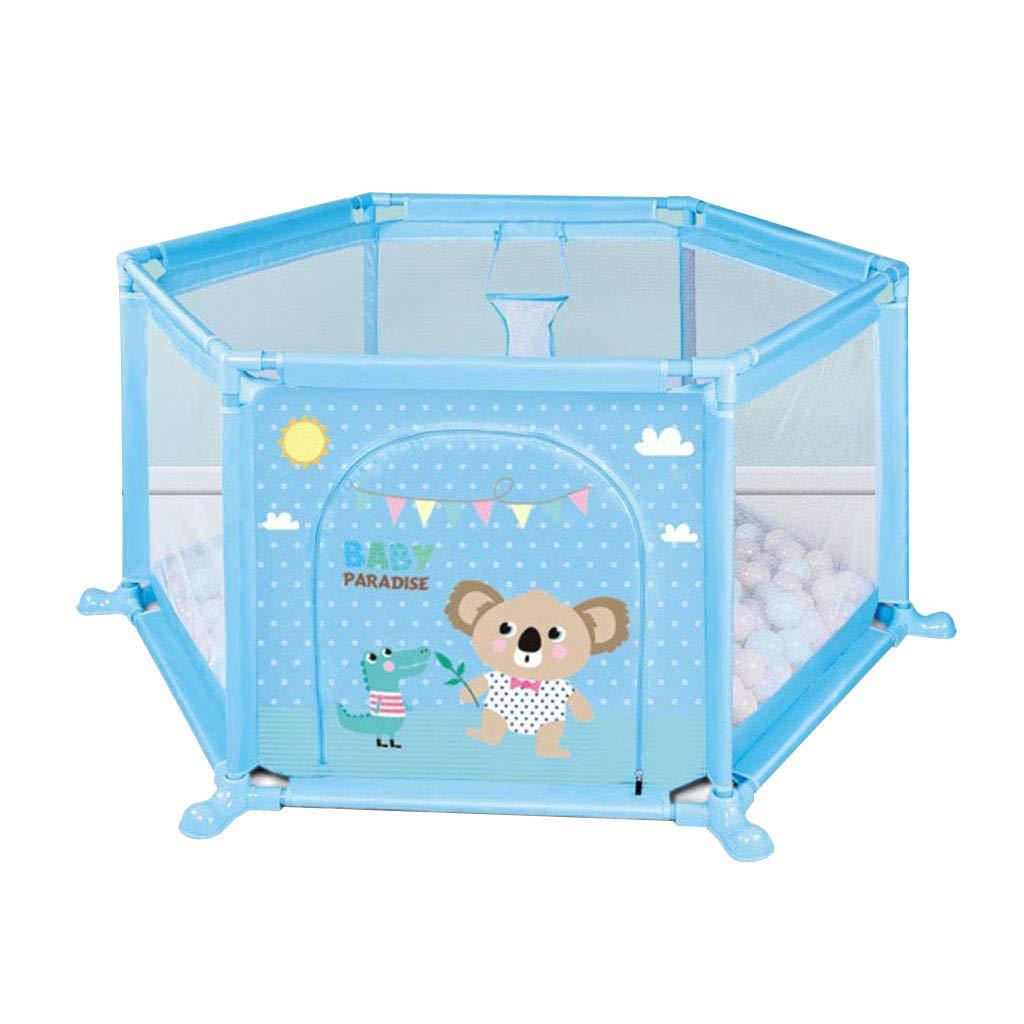 安全赤ちゃんベビーサークルゲームフェンス玩具赤ちゃん屋内クロールマット幼児フェンスホーム遊び場用子供6から24ヶ月青   B07SQ8Y36W