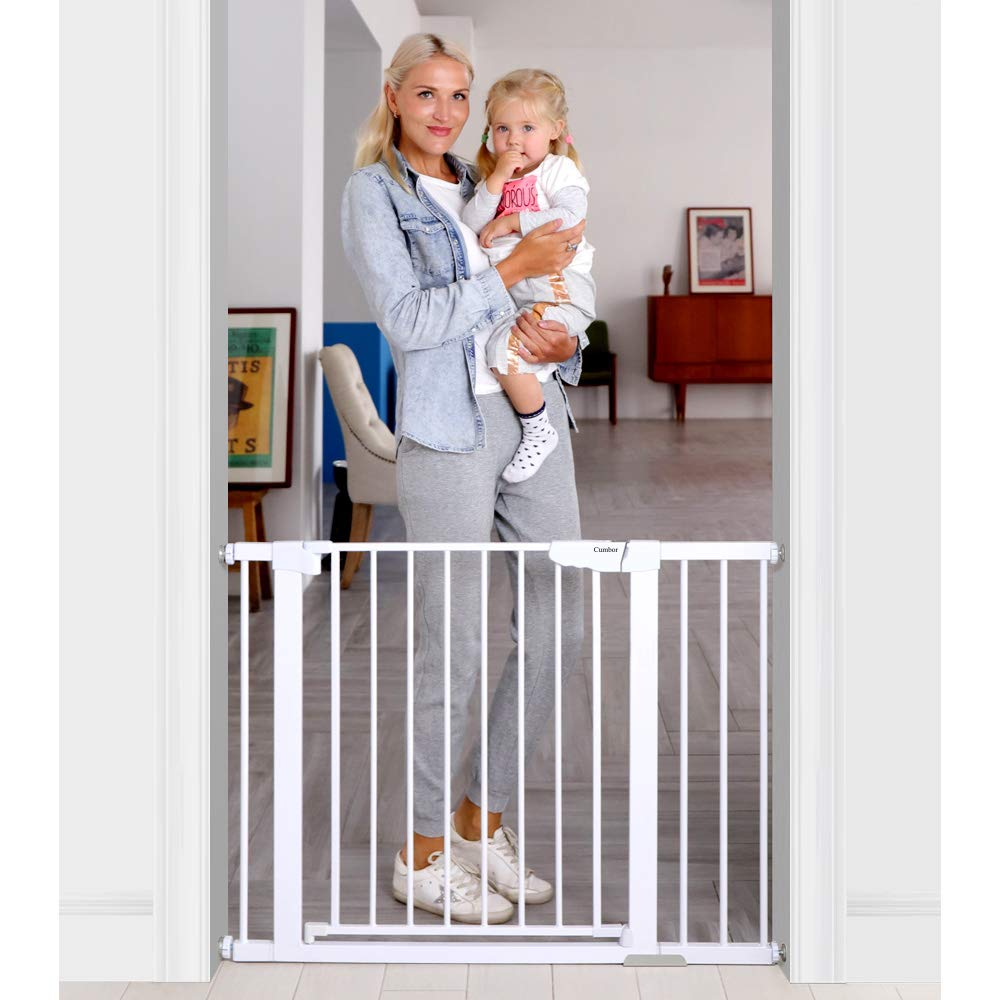 Cumbor 43.5''Auto Close Safety Baby Gate,Extra Tall and Wide Child Gate,Easy Walk Thru Durability Dog Gate for The House,Stairs,Doorways.Included 4 Wall Cups,2.75-Inch and 8.25-Inch Extension,White