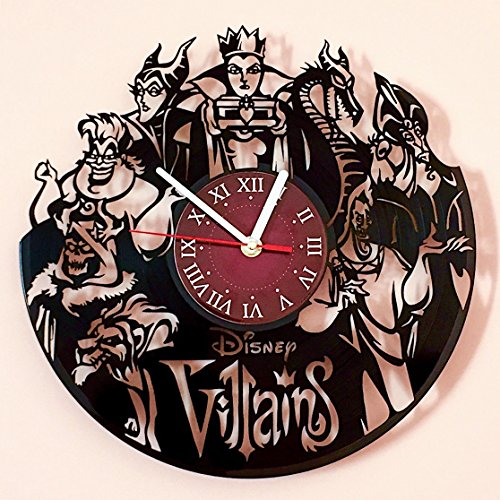Villains Walt Disney Vinyl Record Wall Clock - Kids Room wall decor - Gift ideas for kids, girls, boys, teens - Cartoon Unique Art Design -