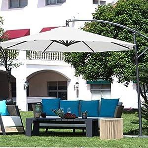 Abba Patio 10-Feet Offset Cantilever Umbrella Outdoor Hanging Patio Umbrella, Ivory