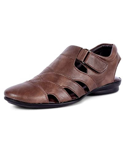 e30199974609 Peponi Men s Faux Leather Brown Sandals  Buy Online at Low Prices in ...